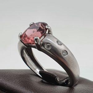 Solitaire Or blanc Diamant et pierre rose